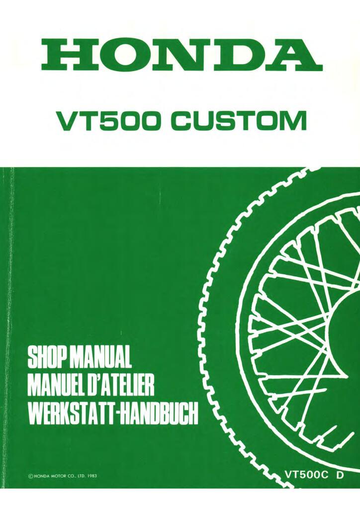 Honda Vt 500 C Custom 1983 Shadow Service Manual En De Fr