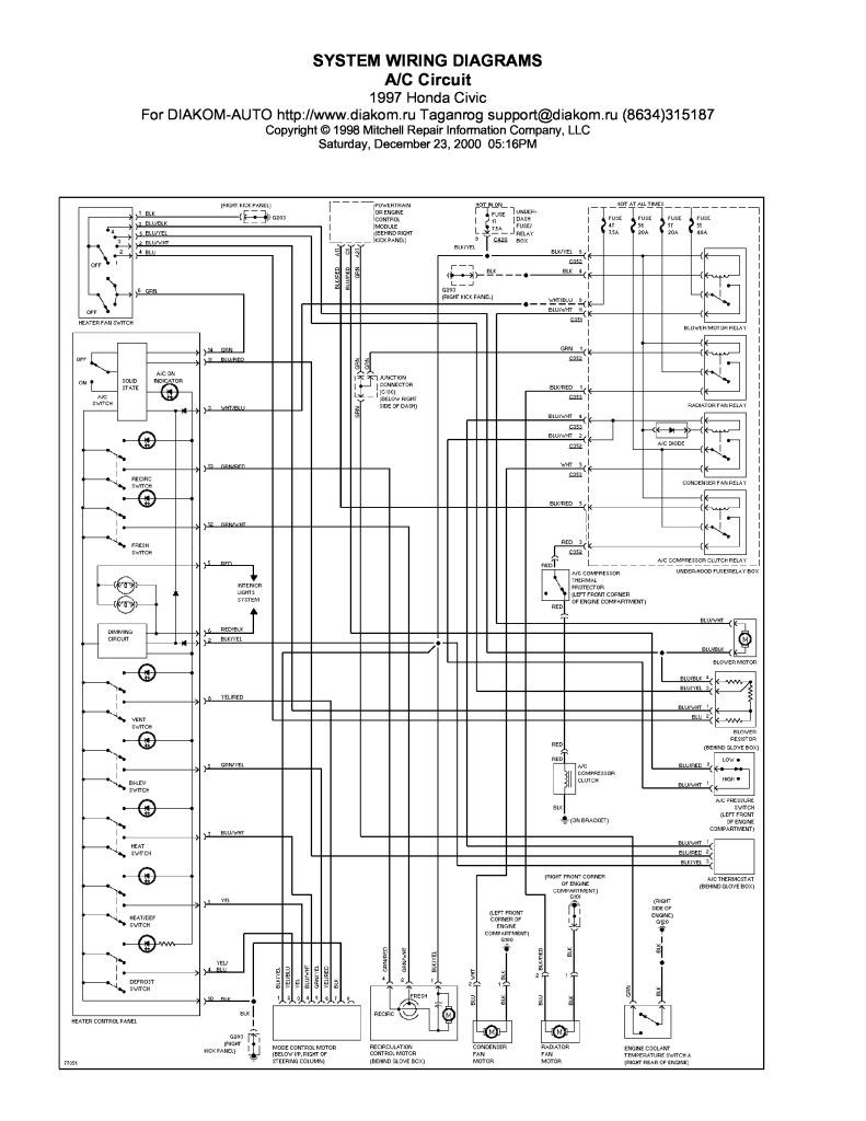 1997 Honda Ac Circuit Wiring Diagrams Pdf  1 37 Mb